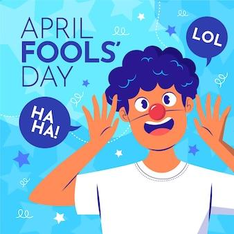 Organic flat april fools' day illustration