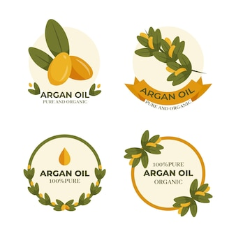 Organic flat argan oil badge set