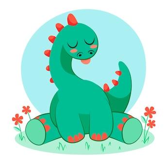 Organic flat baby dinosaur illustrated