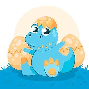 図解された有機フラット赤ちゃん恐竜