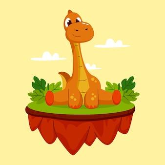 유기 평면 아기 공룡 일러스트