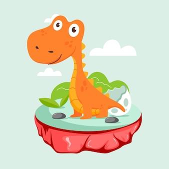 Органический плоский детский динозавр проиллюстрирован