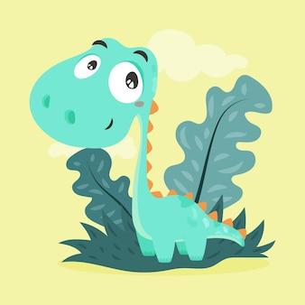 Органический плоский детский динозавр