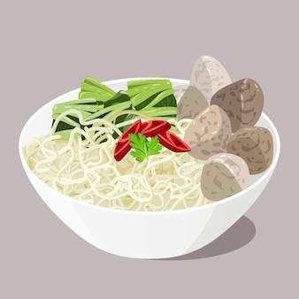 Organic flat bakso in a bowl