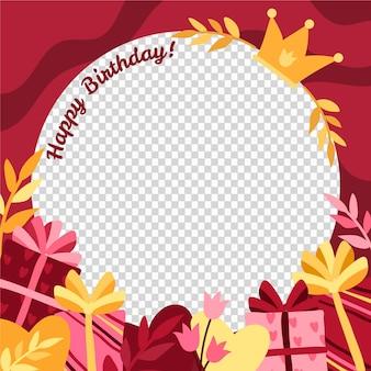 Organic flat birthday facebook frame