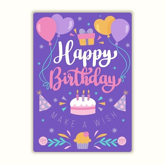글자와 유기 평면 생일 인사말 카드