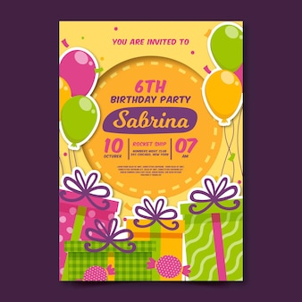 Organic flat birthday invitation