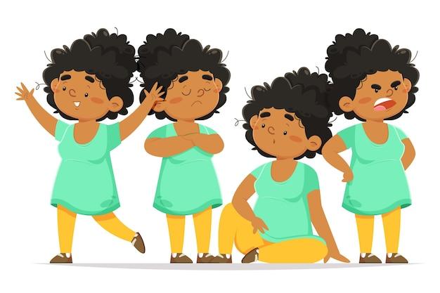 Confezione da ragazza nera piatta organica in diverse pose
