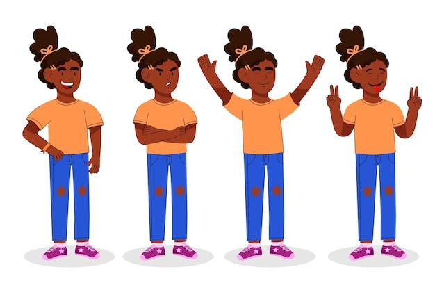 Illustrazione di ragazza nera piatta organica in pose diverse