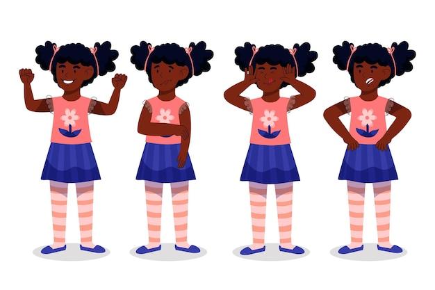 さまざまなポーズで有機フラット黒の女の子のイラスト