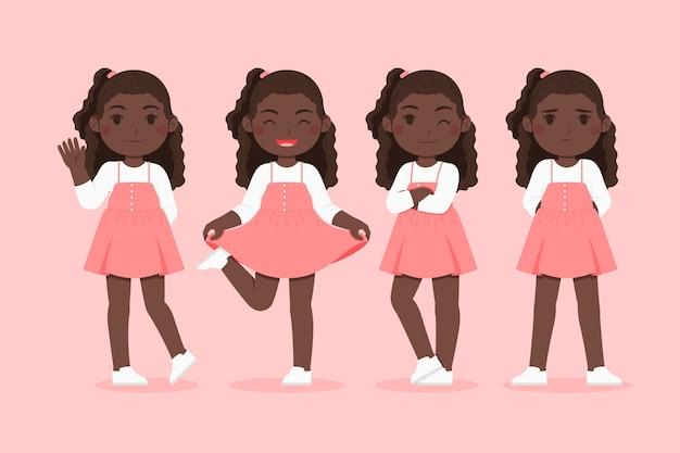 다른 포즈 세트에 유기 편평한 흑인 소녀