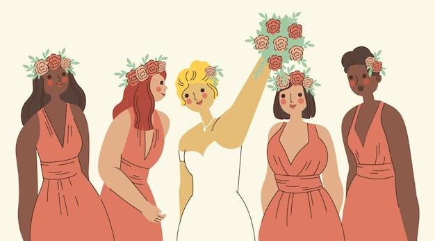 Damigelle d'onore piatte organiche e sposa illustrate