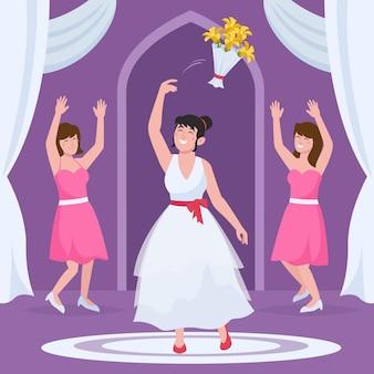 Органические плоские подружки невесты празднуют важный день