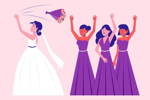 重要な日を祝う有機フラット花嫁介添人