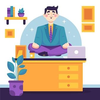 Organic flat business m,an meditating
