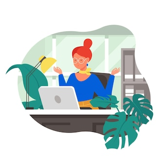 Organic flat business people meditating illustration