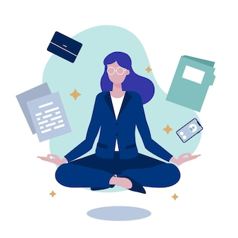 Органические плоские деловые люди медитируют иллюстрация