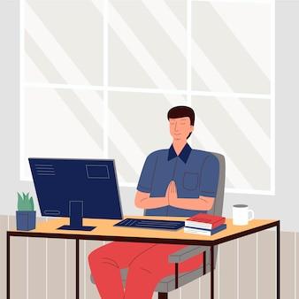 Organic flat business people meditating illustration