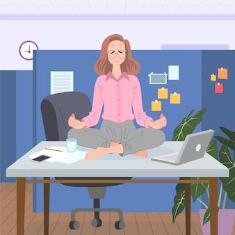 イラストを瞑想する有機フラットビジネスの人々
