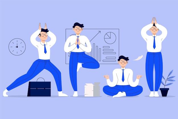 瞑想する有機フラットビジネスの人々