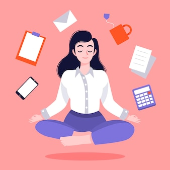 Organic flat business person meditating