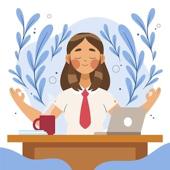 Organic flat business person meditating