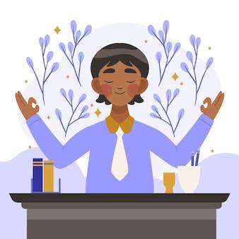 瞑想する有機フラットビジネスパーソン