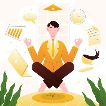 Persona di affari piatto organico meditando