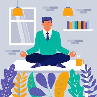 Uomo d'affari piatto organico meditando