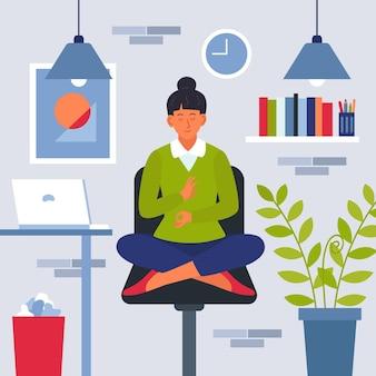 瞑想する有機フラット実業家