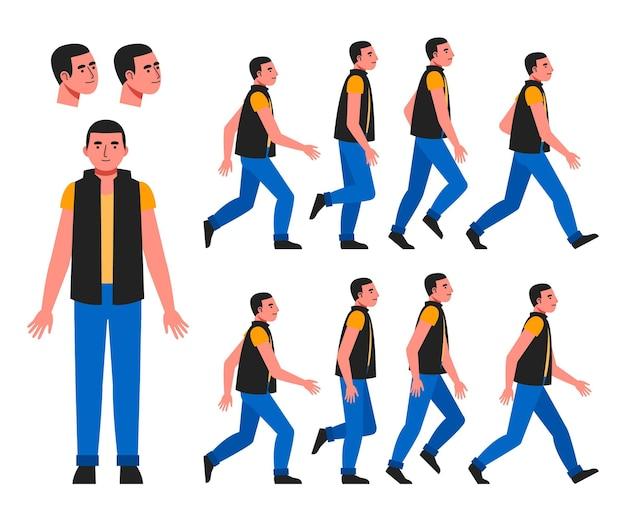 有機フラットキャラクターアニメーションフレームパック