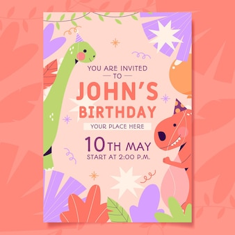 Organic flat children birthday invitation