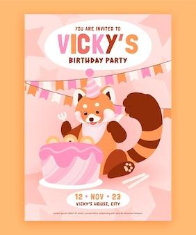Органическое плоское детское приглашение на день рождения