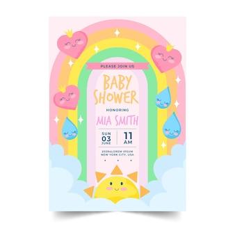 Пригласительный билет на детский душ из органической квартиры chuva de amor