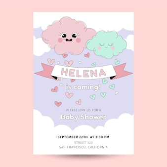 Organic flat chuva de amor baby shower invitation template