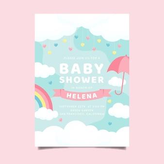 Invito dell'acquazzone di bambino di chuva de amor piatto organico