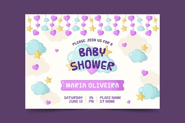 Organic flat chuva de amor baby shower invitation