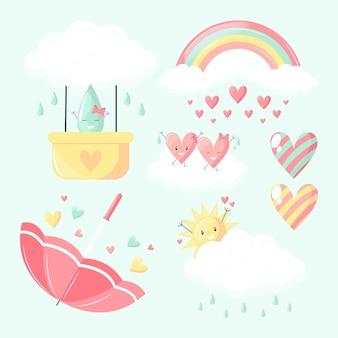 유기 평면 chuva de amor 장식 요소 컬렉션