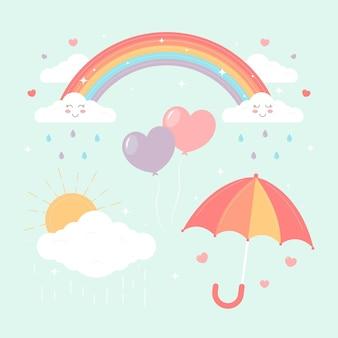 Collezione di elementi decorativi organici chuva de amor piatti