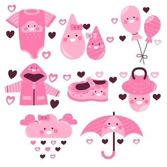 Органическая плоская коллекция декоративных элементов chuva de amor
