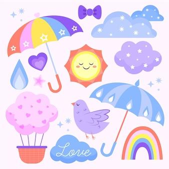 Органический плоский набор элементов декора chuva de amor