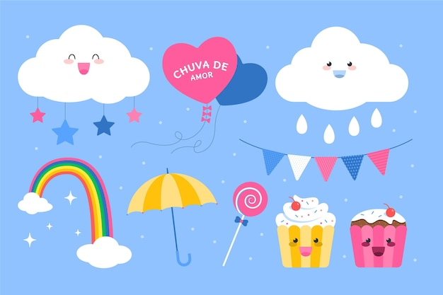 Organic flat chuva de amor elements 컬렉션
