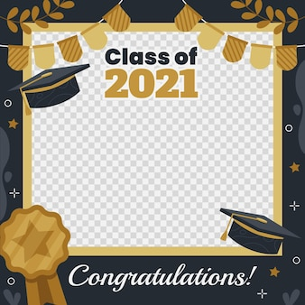 Organic flat class of 2021 frame template