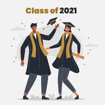 Organic flat class of 2021 illustration