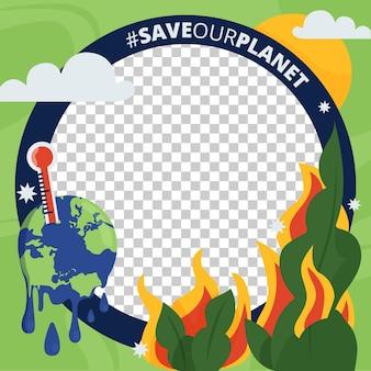 Organic flat climate change facebook avatar frame Free Vector