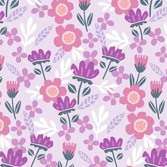 유기 편평한 화려한 추상 꽃 패턴