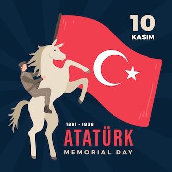 Commemorazione piatta organica di ataturk, illustrazione della giornata della gioventù e dello sport