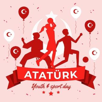 アタテュルク、青年、スポーツデーのイラストのオーガニックフラット記念