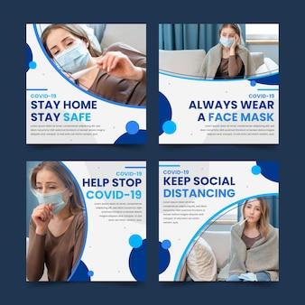 Органический плоский коронавирус instagram post pack