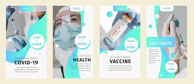 有機フラットコロナウイルスinstagramストーリーコレクション 無料ベクター